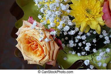 Spring beautiful bouquet natural colour on dark background
