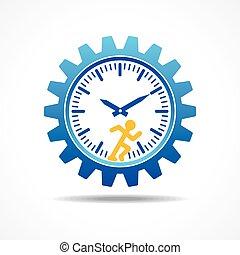 spring, begrepp, man, tid