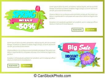 Spring Big Sale 50 Off Advertisement Label Flowers