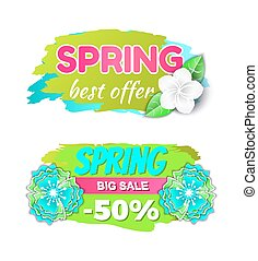 Spring Big Sale 50 Percents and Best Offer Vector