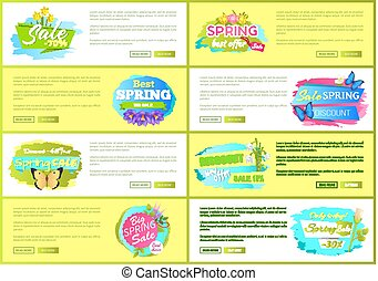 Spring Big Sale Advertisement Labels Set Flowers