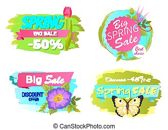 Spring Big Sale Discounts 50 Posters Set Labels