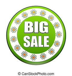 spring big sale green circle label with flowers