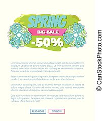 Spring Big Sale, Promo Web Poster with Info Label