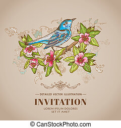 Spring Bird Illustration -Vintage Card - hand-drawn in vector