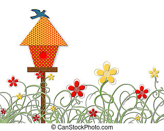 Birdhouse with bluebird and yellow and red flowers; computer illustration