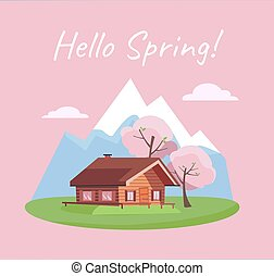 Spring blooming landscape with mountains and wood log country house on grass. Blossom season card with text Hello Spring. Flat cartoon style vector illustration in pink blue green colors.