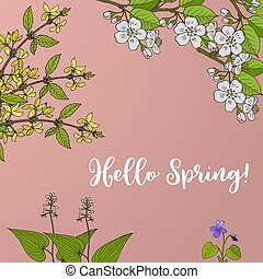 Spring blossom card with apple branch and forsythia