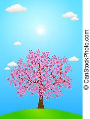 Spring Blossom - Illustration of spring season. A Tree full...