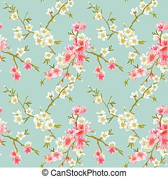 Spring Blossom Flowers Background - Seamless Floral Shabby ...