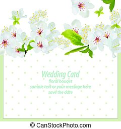 Spring blossom flowers card dotted background. Retro delicate Wedding Invitation. Place for text. Vector illustration