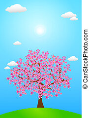 Spring Blossom - Illustration of spring season. A Tree full...