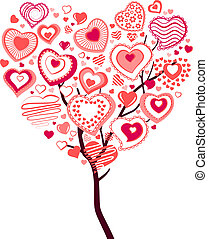 Spring blossoming tree with big heart made of small ones