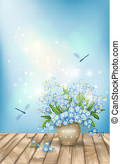 Spring blue flowers, dragonflies on wood background. Romantic vector floral scene with forget-me-nots bouquet in vase, shining lights, textured wooden floor against the sky