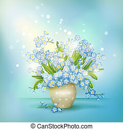 Spring blue flowers forget-me-nots in vase vector