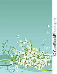 Spring blue frame with snowdrops and abstract elements