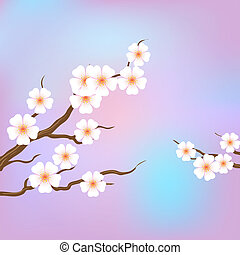 Spring border background with pink