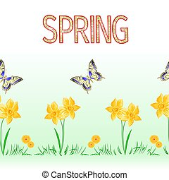 Spring border seamless background butterfly and daffodil vector