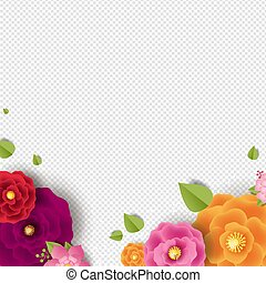 Spring Border With Color Flowers Transparent Background