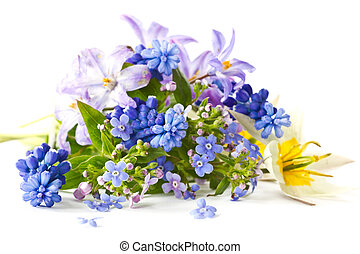spring bouquet - beautiful bouquet of spring flowers on a...