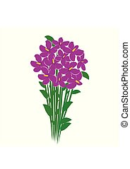 Spring bouquet of violet crocuses flowers isolated on white background. Flowers for woman gift. Vector illustration
