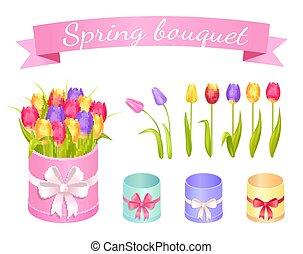 Spring Bouquet Set of Flowers Vector Illustration