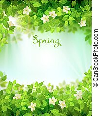 Spring branches with fresh green leaves. Season background framed by floral elements.