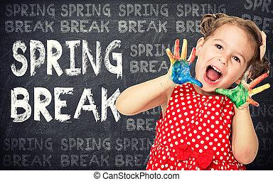Spring break announcement by happy girl