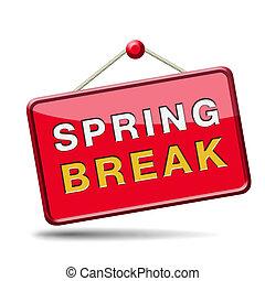 spring break holliday or school vacation icon or button