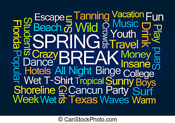 Spring Break Word Cloud on Blue Background