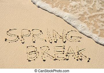 Spring Break Written in the Sand on a Beach