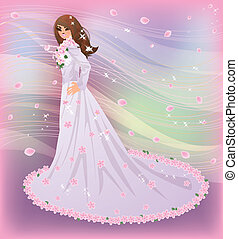 Spring bride, vector illustration