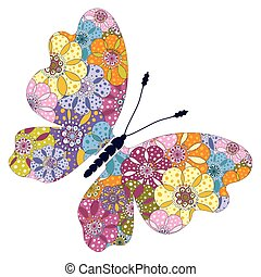 Spring bright colorful floral butterfly
