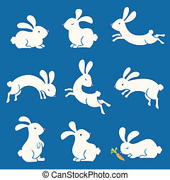 Spring Bunnies - Stylized illustrations of springtime...