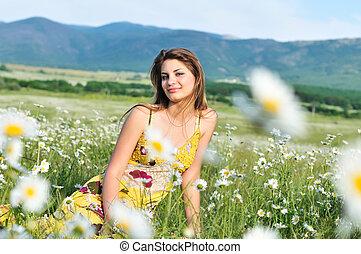spring calm teen girl