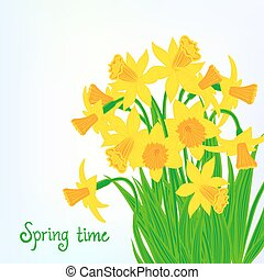 Spring card background with daffodils