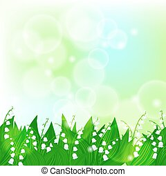 Spring card background with lily of the valley flowers and...