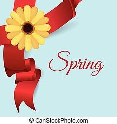 spring card  flower ribbon