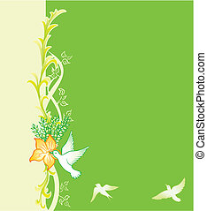 Spring card - Green background with floral pattern and birds