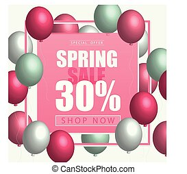 Spring card template with balloons. Pink yellow color. for flyer, poster, banner