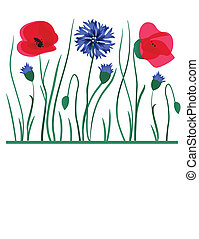 Spring card with beauty poppies. - Spring card with poppies.