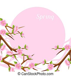 Spring card with branches of tree and sakura flowers. Seasonal illustration