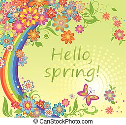 Spring card with colorful flowers a