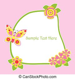 Spring card with cute butterfly and flowers frame