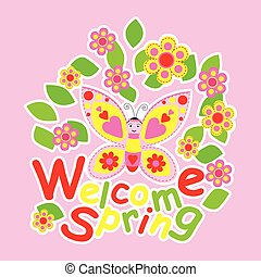 Spring card with cute butterfly and flowers