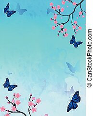 Spring card with sakura and butterfly, vector