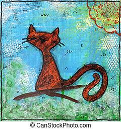 Spring cat. Painting in the style of Mixed media