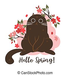 Spring cat with cherry blossoms on white background. inscription Hello Spring. Vector Graphics.