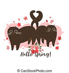 Spring cats with cherry blossoms on white background. inscription Hello Spring. Vector Graphics.