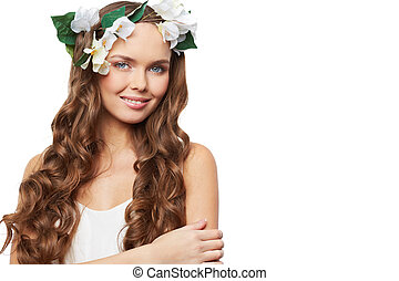 Spring charm - Charming young woman posing in front of...